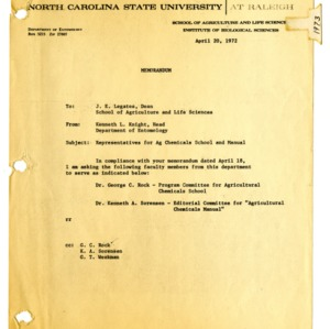 Agricultural Chemicals School annual event, 1972-1973