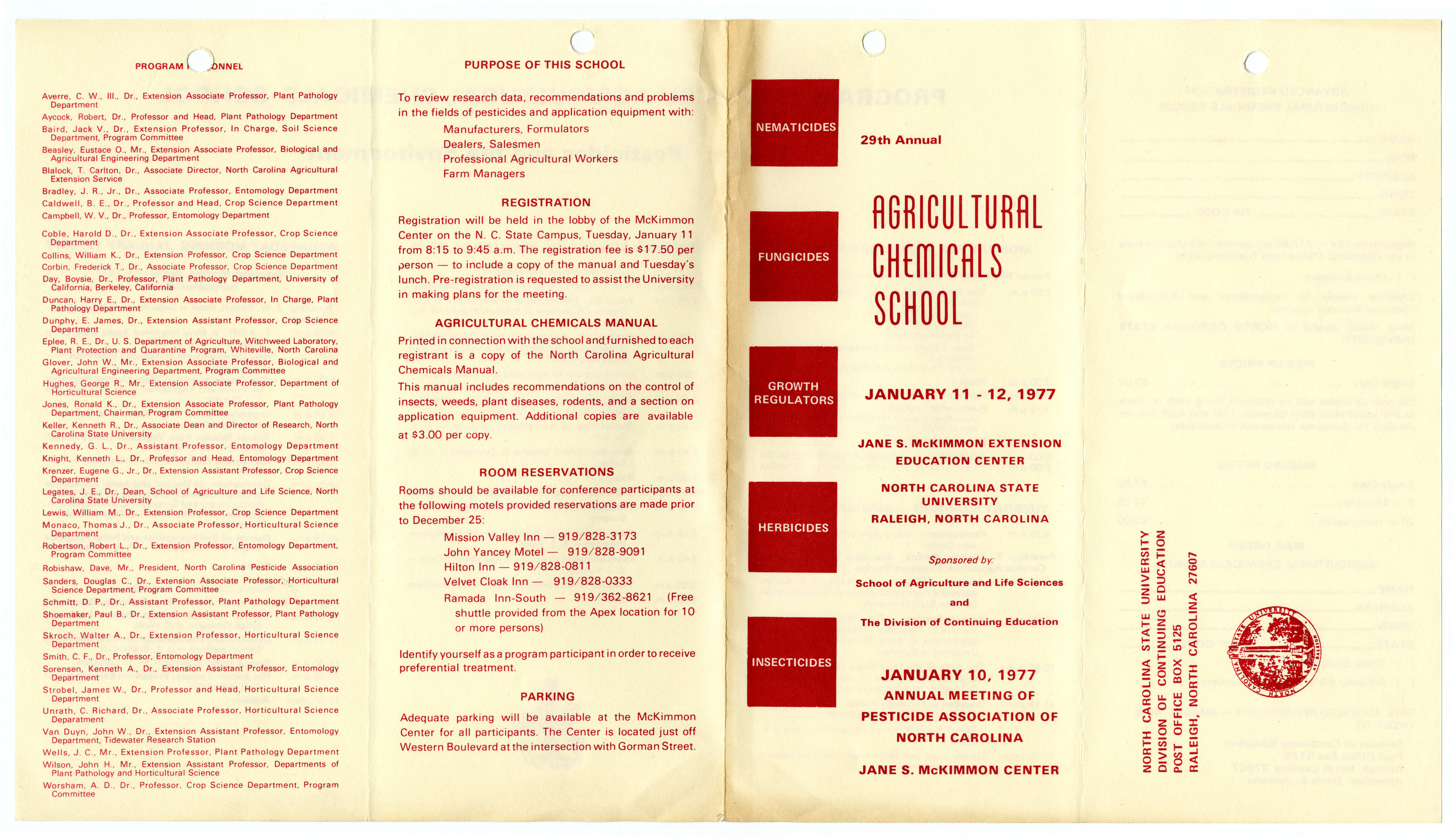 Agricultural Chemicals School annual event, 1976-1977