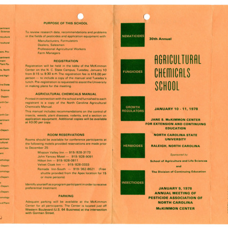 Agricultural Chemicals School annual event, 1977-1978