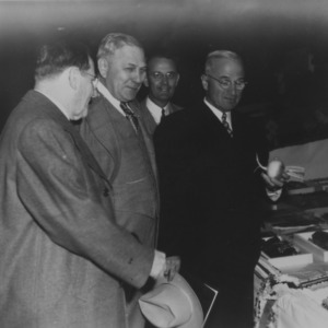 President Harry S. Truman, speaker for NC State Fair opening, with Governor R. Gregg Cherry