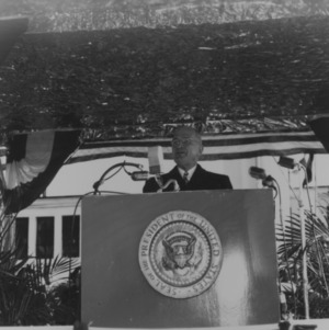 President Harry S. Truman giving opening speech at NC State Fair