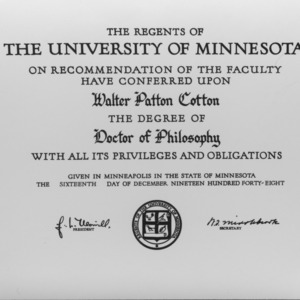 Walter Patton Cotton's Doctor of Philosophy degree