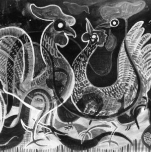 Painting of roosters