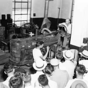 Farm and Home Week; Agricultural Engineering demonstration (lecturer C. L. Hamilton)