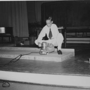 Floor sanding demonstration in Pullen Hall