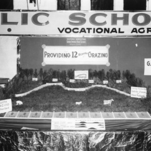 "NC State Fair exhibit booth on Seven Springs High School Vocational Agriculture, ""Providing 12 Months Grazing"""