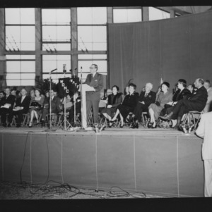 N. C. State Fair: Governor Umstead speaking at dedication of fair coliseum