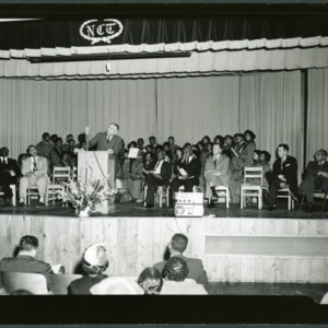 Alonzo Edwards addressing African Americans at high school