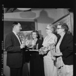 Farm and Home Week; George Abshier, North Carolina State College; Mrs. W. F. Bailey; Mrs. Marvin Dunbar; and Mrs. T. T. Gaskins, all of Raleigh, Stretching Your Food Dollar