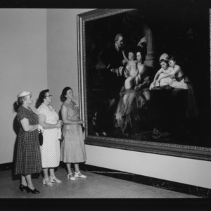 """Farm and Home Week; Women of Farm and Home Week on tour of new State Art Gallery; Group looks at large painting by John Singleton Copley entitled """"Portrait of Sir William Pepperell and His Family"""""""