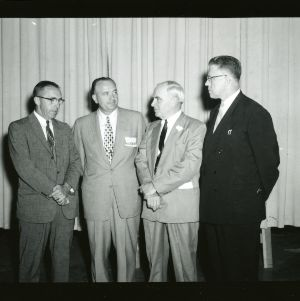 Dean D. W. Colvard, Stern, Governor Luther Hodges, and Harry B. Caldwell in group