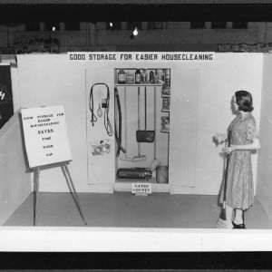 """African American Home Demonstration exhibit """"Good Storage for Easier Housecleaning,"""" 1956"""