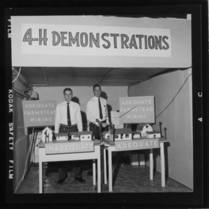 N. C. State Fair: 4-H demonstration Electric both adequate and inadequate wiring Carlton Garner and [illegible] Allen, Halifax County
