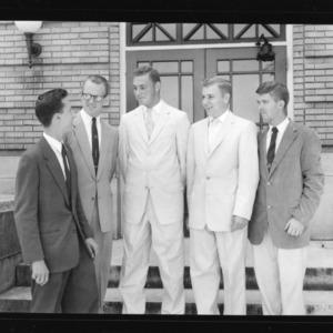 1957-58 Collegiate 4-H Officers; Glenn Woodley, President; Jimmy Hendrix, Vice President; Carlton Garner, Secretary; Lon Allen, Treasurer; Charles Canada, Reporter