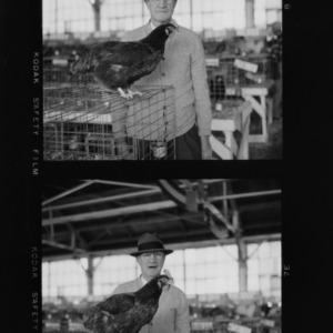 Mr. C.J. Maupin holding chicken at State Fair