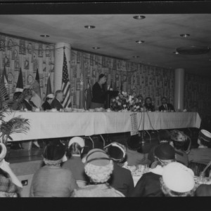 Mrs. Eleanor Roosevelt Speaking at American Association of the United Nations Meeting in College Union