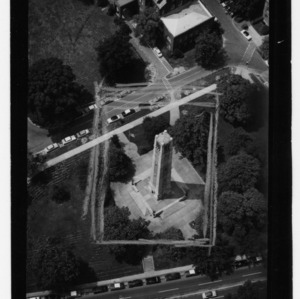 Aerial view of Memorial Tower and campus buildings