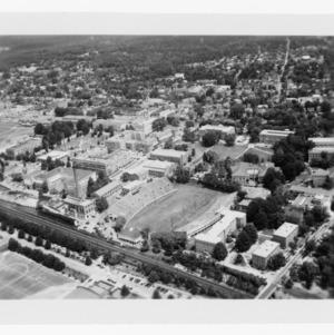 Aerial view of campus buildings including stadium