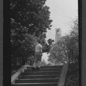 Campus Scene: Tower and steps from between Pullen and Peele