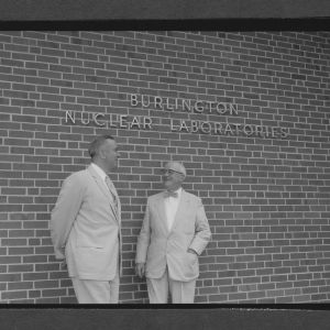 Dr. Meunir and Dean J. Harold Lampe by nuclear reactor room