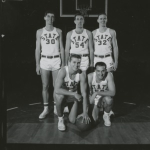 Basketball players Stan Niewierowski, Anton Meulbower, Bob Destefano, Bruce Hoadley, and Ross Marvel