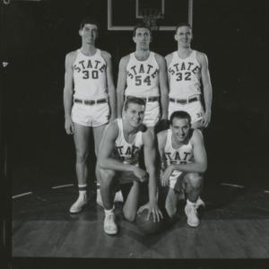 Basketball players Stan Niewierowski, Anton Meulbower, Bob Destefano, Bruce Hoadley, and Ross Marvel