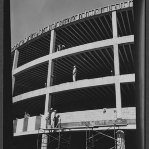 Harrelson Hall, round classroom building during construction