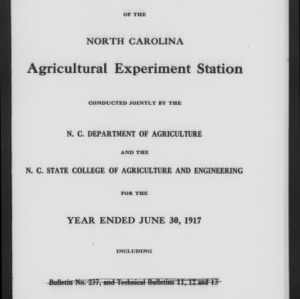 Fortieth North Carolina Agricultural Experiment Station Annual Report