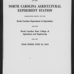 Forty-Second North Carolina Agricultural Experiment Station Annual Report