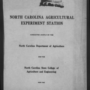 Forty-Third North Carolina Agricultural Experiment Station Annual Report