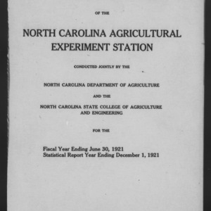Forty-Fourth North Carolina Agricultural Experiment Station Annual Report