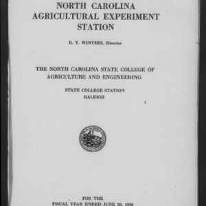 Forty-Ninth North Carolina Agricultural Experiment Station Annual Report