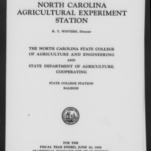 Fifty-First North Carolina Agricultural Experiment Station Annual Report