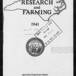 Agricultural Experiment Station Annual Report, 1940-1941