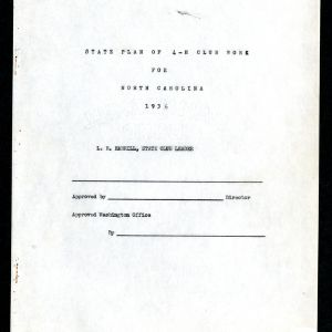 State Plan of 4-H Club Work for North Carolina 1936
