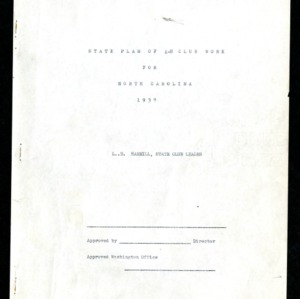 State Plan of 4-H Club Work for North Carolina 1937