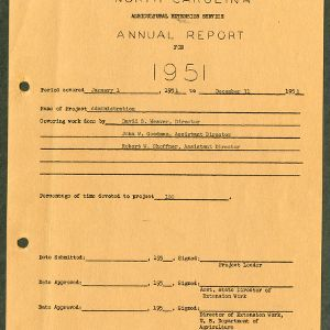 North Carolina Agricultural Extension Service Annual Report for 1951