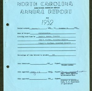 North Carolina Agricultural Extension Service Annual Report for 1952