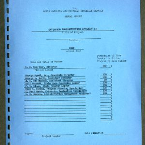 North Carolina Agricultural Extension Service Annual Report for 1962