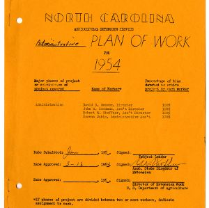 Extension Administration Plan of Work 1954