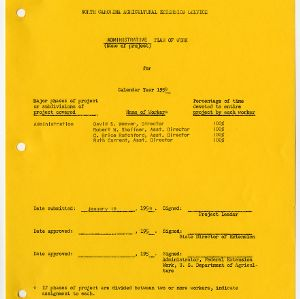 Extension Administration Plan of Work 1959
