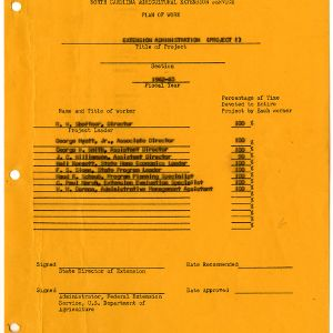Extension Administration Plan of Work 1962-1963
