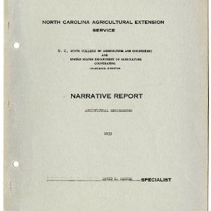North Carolina Agricultural Extension Service Annual Report for 1933