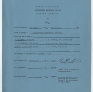 North Carolina Agricultural Extension Service Narrative Report for 1956