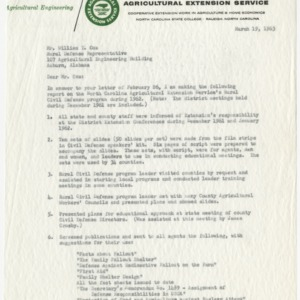Agricultural Engineering - Agricultural Extension Service - Letter Dated March 19, 1963