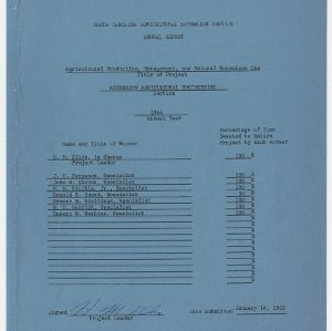 North Carolina Agricultural Extension Service Annual Report - Agricultural Production, Management, and Natural Resources Use 1964