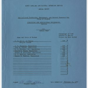 North Carolina Agricultural Extension Service Annual Report - Agricultural Production, Management, and Natural Resources Use 1965