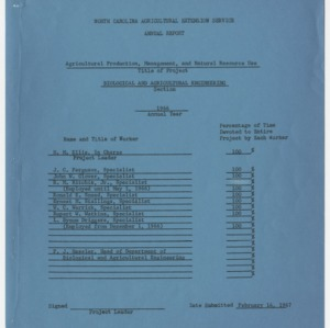 North Carolina Agricultural Extension Service Annual Report - Agricultural Production, Management, and Natural Resources Use 1966