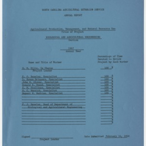 North Carolina Agricultural Extension Service Annual Report - Agricultural Production, Management, and Natural Resources Use 1967