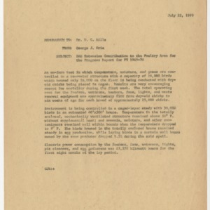 Biological and Agricultural Engineering Extension - Correspondence 1969-1970